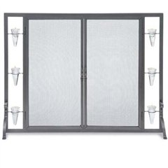 Wrought Iron Flat Tea Light Fireplace Screen with Full Height Doors by Pilgrim