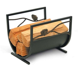 wrought iron artisan pine cone fireplace wood holder by