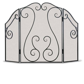 Wrought Iron 3 Panel Antique Scroll Fireplace Screen By