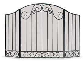Wrought Iron 3 Panel Vienna Arch Fireplace Screen by Napa Forge