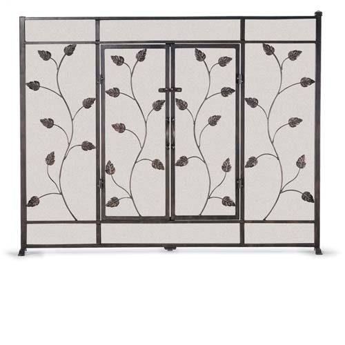 Wrought Iron Flat Leaf Vine Fireplace Screen With Doors By Napa Forge