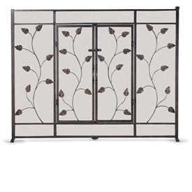 Wrought Iron Flat Leaf Amp Vine Fireplace Screen With Doors