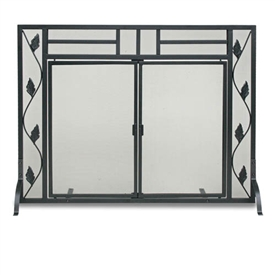 Wrought Iron Flat Garden Leaf Fireplace Screen With Doors