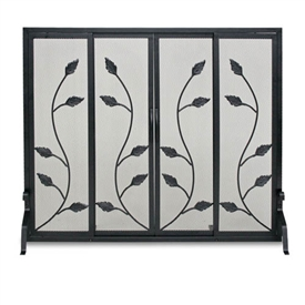 Wrought Iron Flat Garden Vine Fireplace Screen With