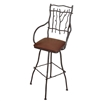 "Pictured is our South Fork 30"" Swivel Bar Stool with Arms, hand-forged by artisan blacksmiths."