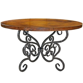 "Pictured here is the Alexander Dining Table with 48"" Round Top hand crafted by skilled artisan blacksmiths."