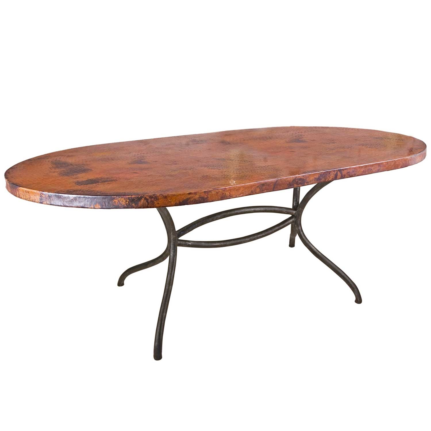 Pictured Here Is The Italia Oval Dining Table With 44 X 72 Soft Oval Copper Top Hand Crafted