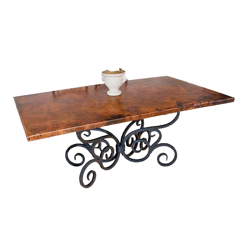 Pictured Here Is The Alexander Dining Table With 42 X 72 Rectangle Copper Top Hand Crafted By