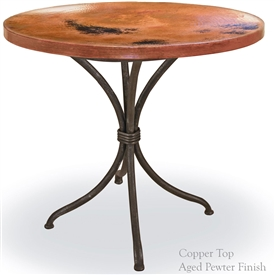"Pictured here is the Italia Bistro Table with 36"" Round Top hand crafted by skilled artisan blacksmiths."