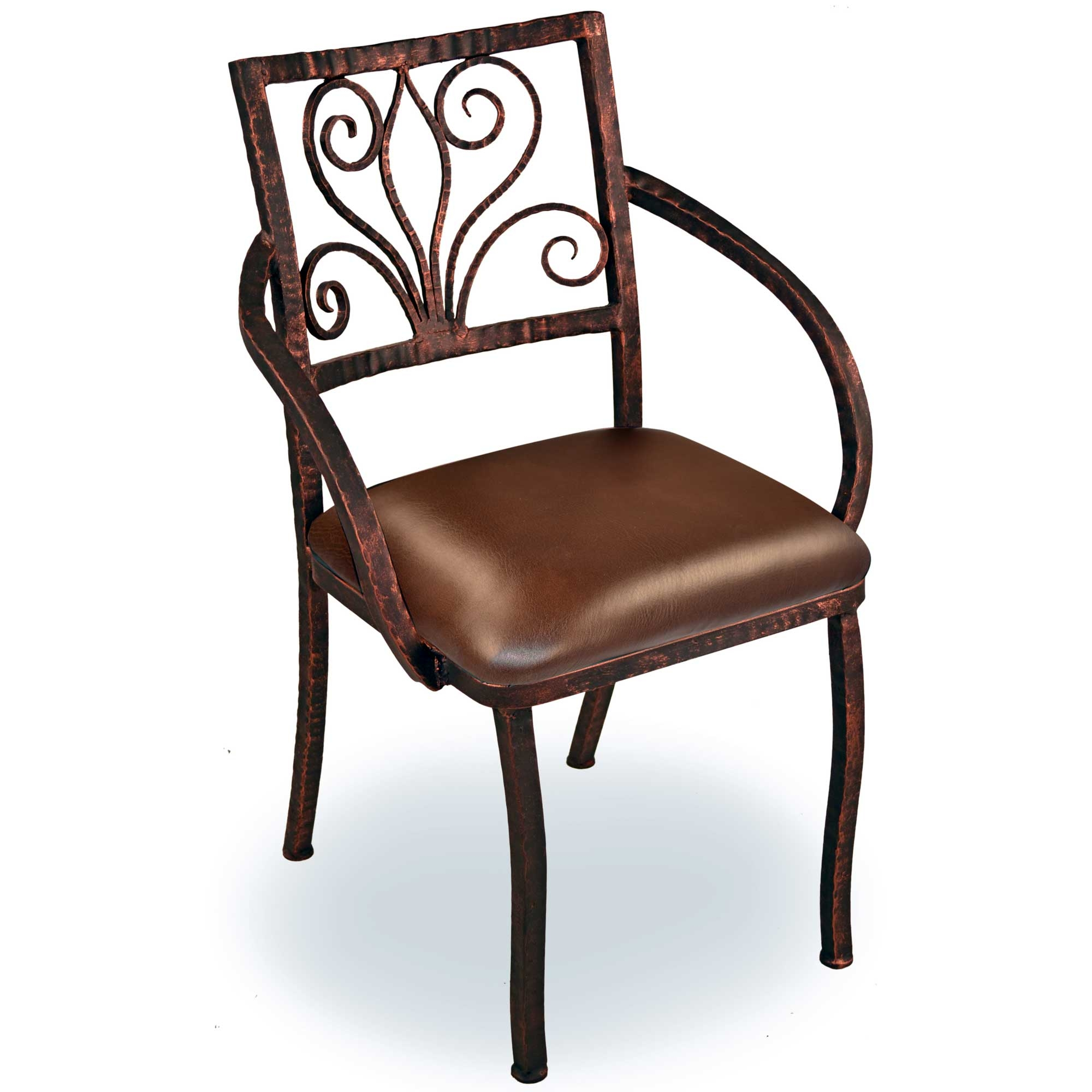 Pictured is the wrought iron alexander dining arm with