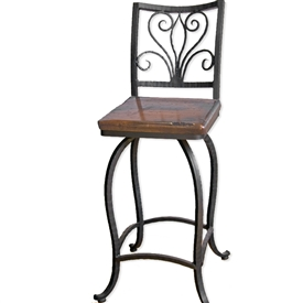 "Pictured is our Alexander 25"" Swivel Counter Stool no Arms, hand-forged by artisan blacksmiths."