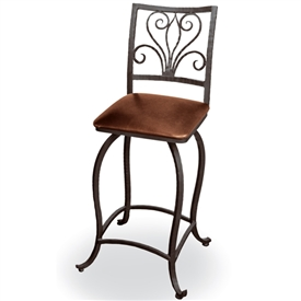"Pictured is our Alexander 30"" Swivel Bar Stool no Arms, hand-forged by artisan blacksmiths."