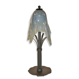 Pictured is our Contemporary style wrought iron Buttercup Table Lamp with Small Glass Shade hand-made by Mathews & Co.