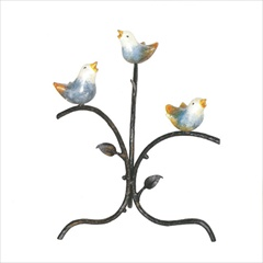Wrought Iron Blue Birds of Happiness with Tree by Mathews & Co.