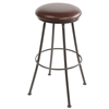 Pictured here is the Monticello Bar Stool with black wrought iron frame and leather upholstered swivel seat.
