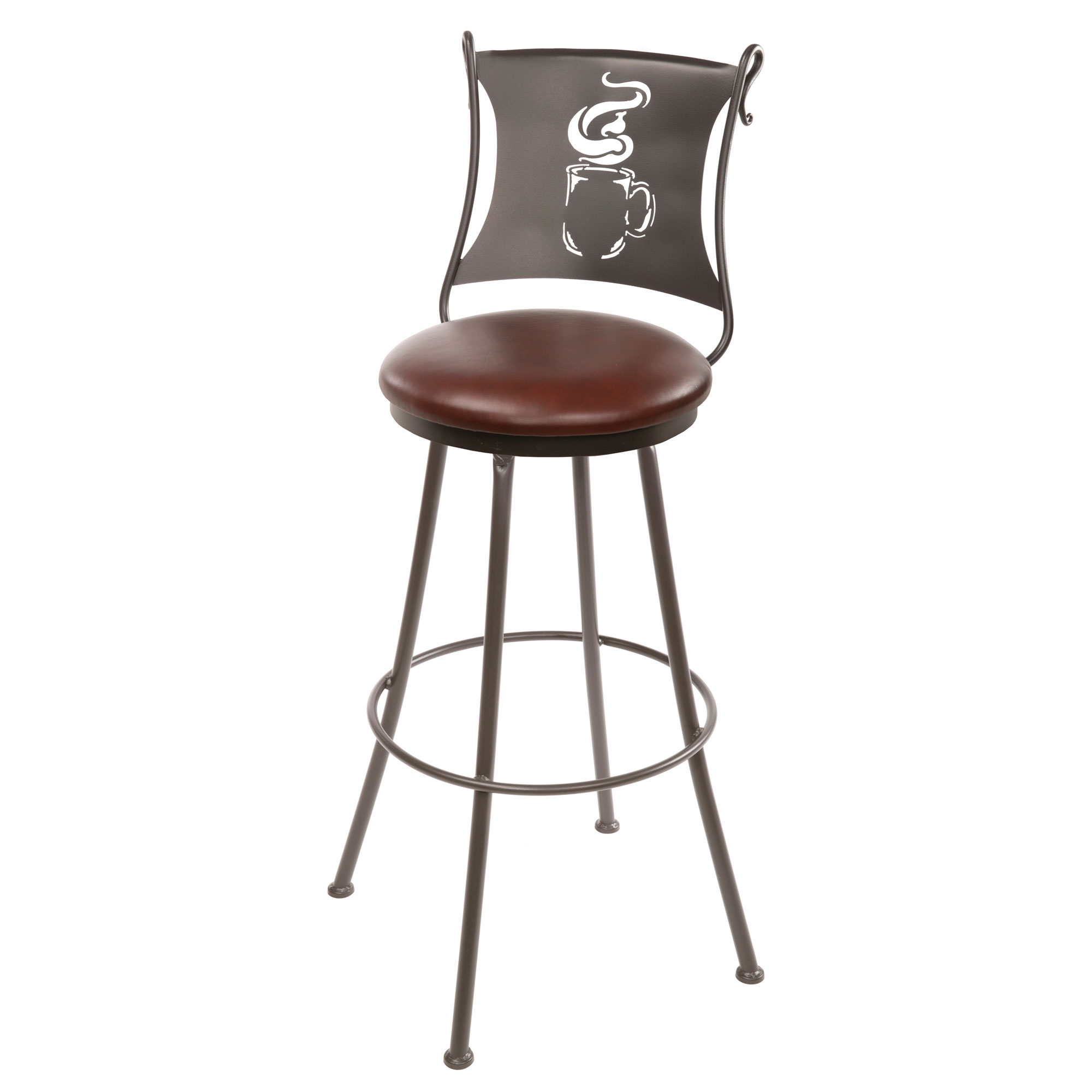 Wrought Iron Coffee Cup Counter Stool 25 In Seat Height
