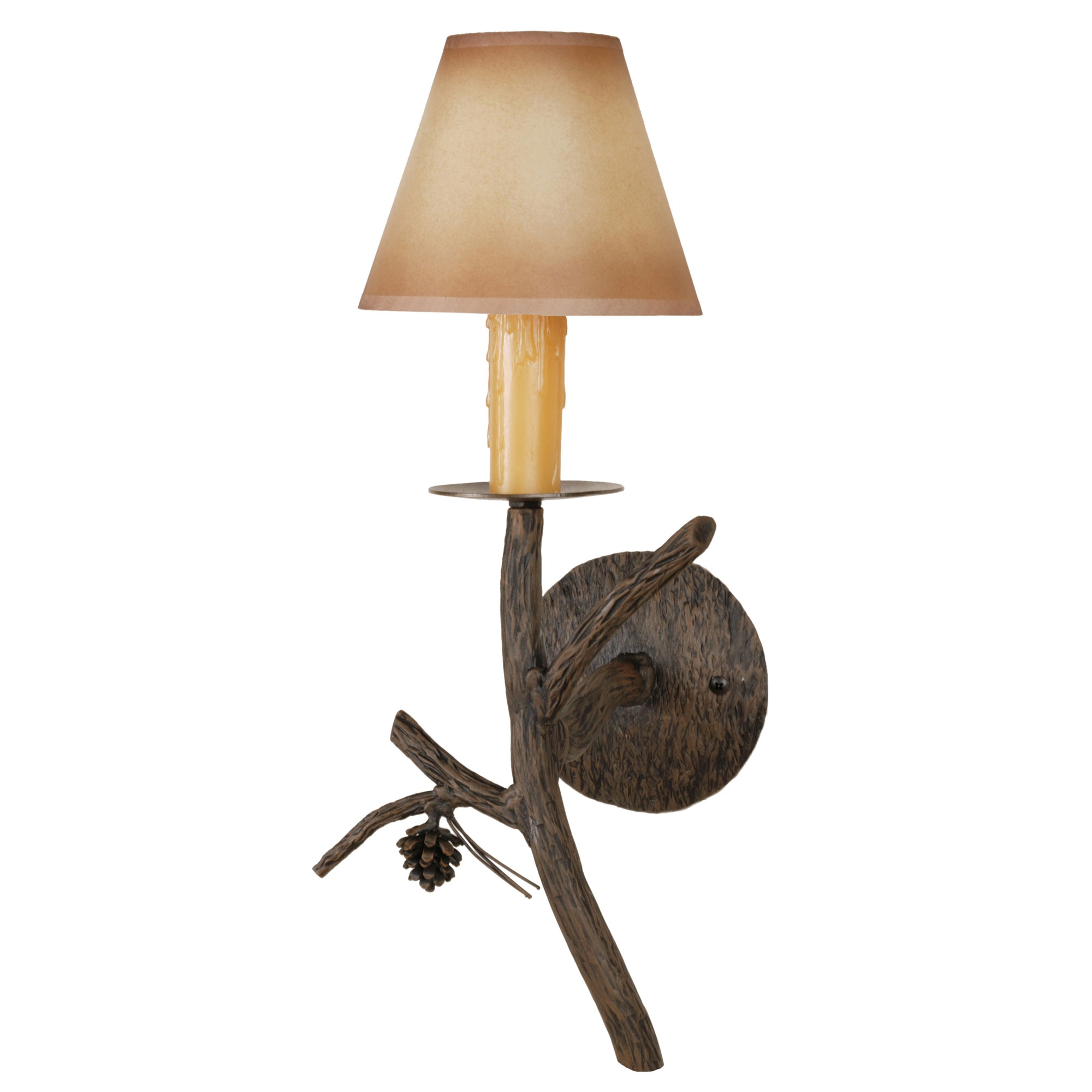 Wall Iron Candle Sconces : Wrought Iron Pine Collection Candle Wall Sconce w/ Candle Drip Cover