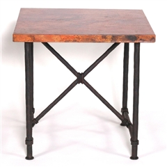 "Pictured here is the Burlington End Table with 24"" x 24"" Square Top hand crafted by skilled artisan blacksmiths."