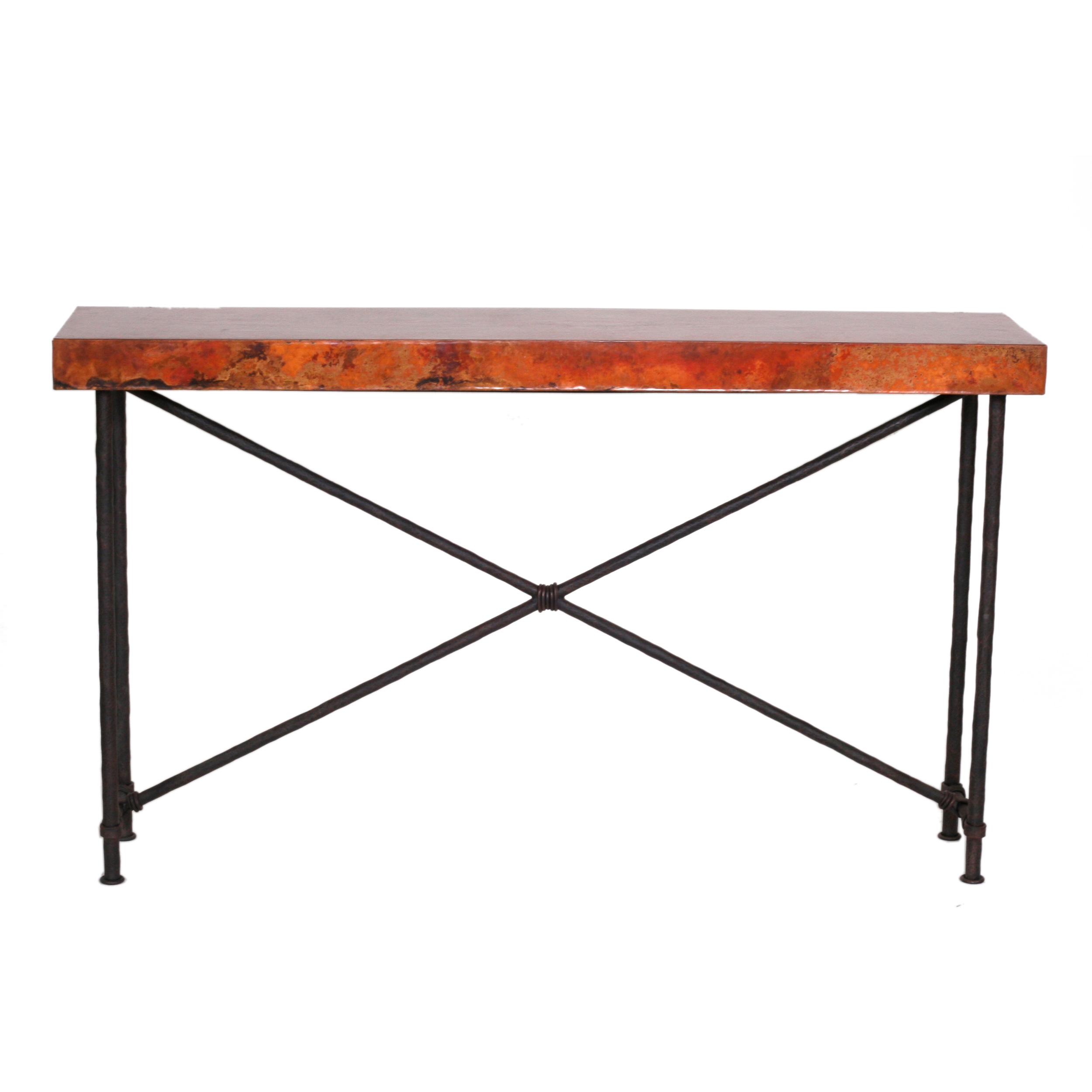 Iron Console Table : Contemporary Wrought Iron Burlington Console Table  60in x 14in Top