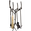 Pine Fireplace Tool Set hand-made by Stone County Ironworks, Sold at Timeless Wrought Iron.