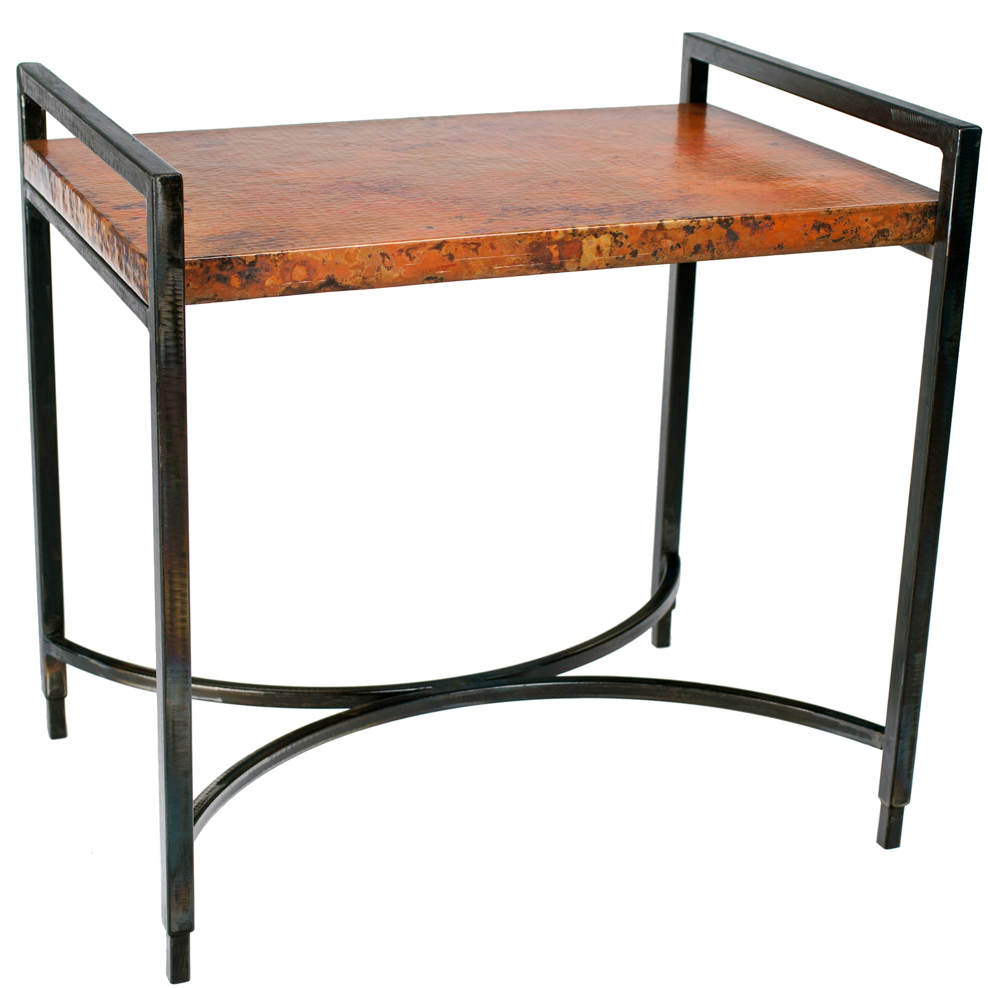Copper Top Rectangular Coffee Table: Rectangular Iron Tray Table In Fire Finish With Hammered