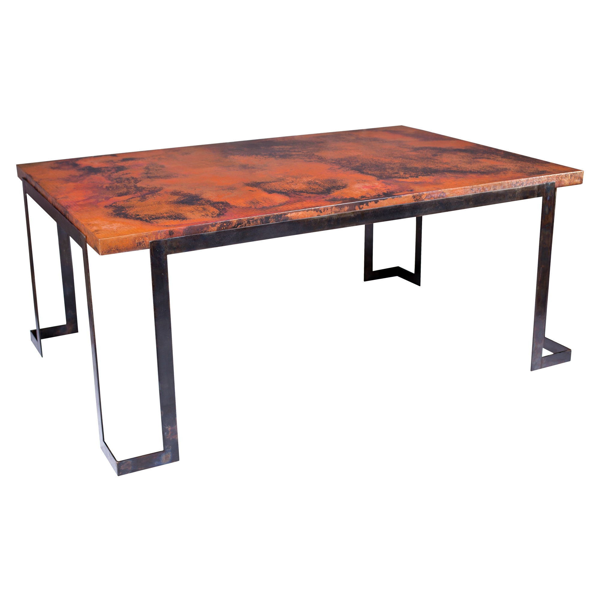 Steel strap rectangle dining table with hammered copper top for Rectangle dining table