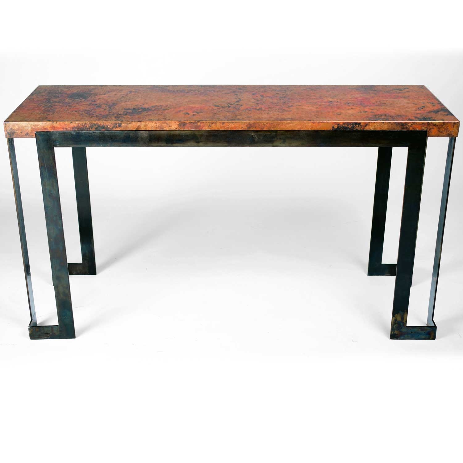 Steel Strap Console Table with Hammered Copper Top : TWI BFM5 F 514A 2 from timelesswroughtiron.com size 1500 x 1500 jpeg 252kB