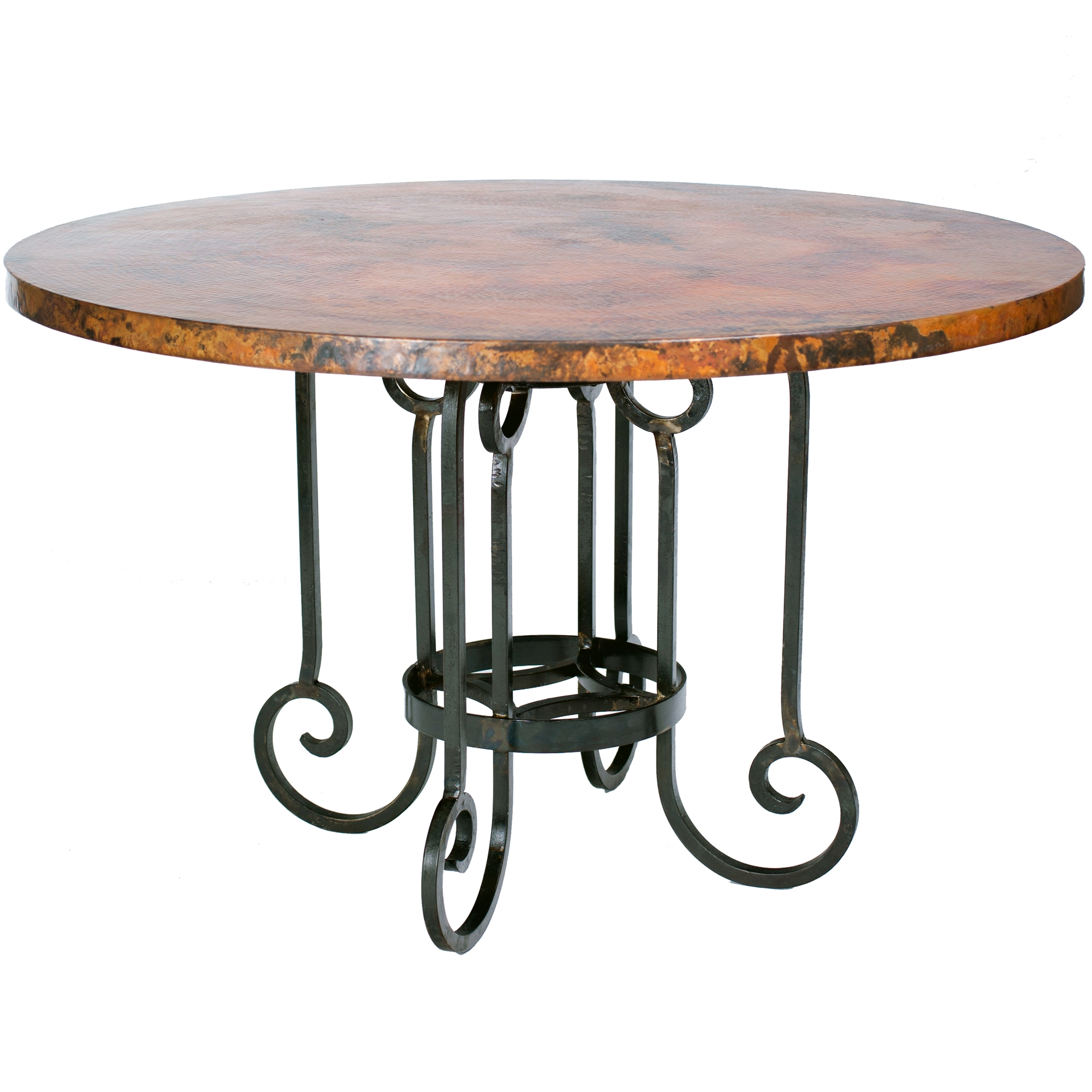 Curled Leg Round Dining Table with 48 inch Copper Top : TWI BFM5 F 518A 2 from www.timelesswroughtiron.com size 2000 x 2000 jpeg 841kB