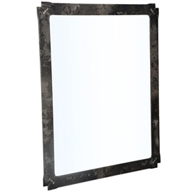 Pictured here is the Woodland Wall Mirror with a Burnished Iron finish on the frame and a standard glass mirror.