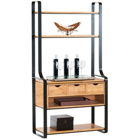 Pictured here is the Kenley 3 Drawer Bakers Rack in charcoal finish, with maple shelves and 24 bottle wine storage in our honeysuckle wood finish.