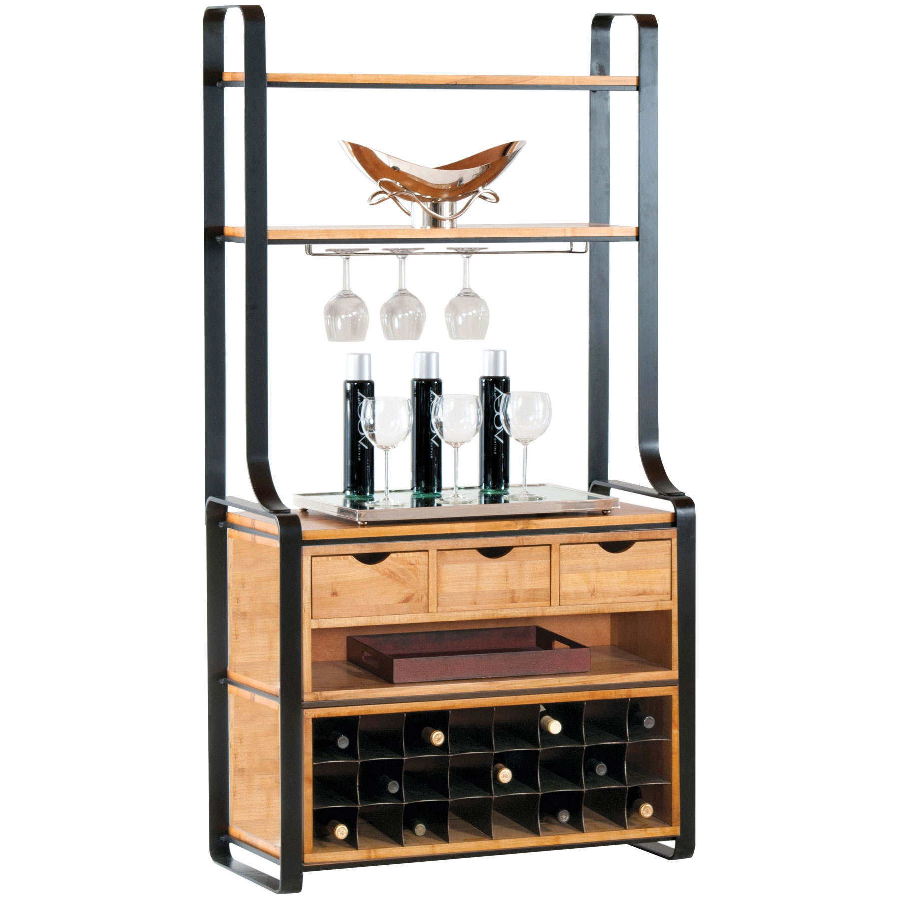 pictured here is the deluxe kenley bakers rack in charcoal finish with maple shelves 24 bottle. Black Bedroom Furniture Sets. Home Design Ideas