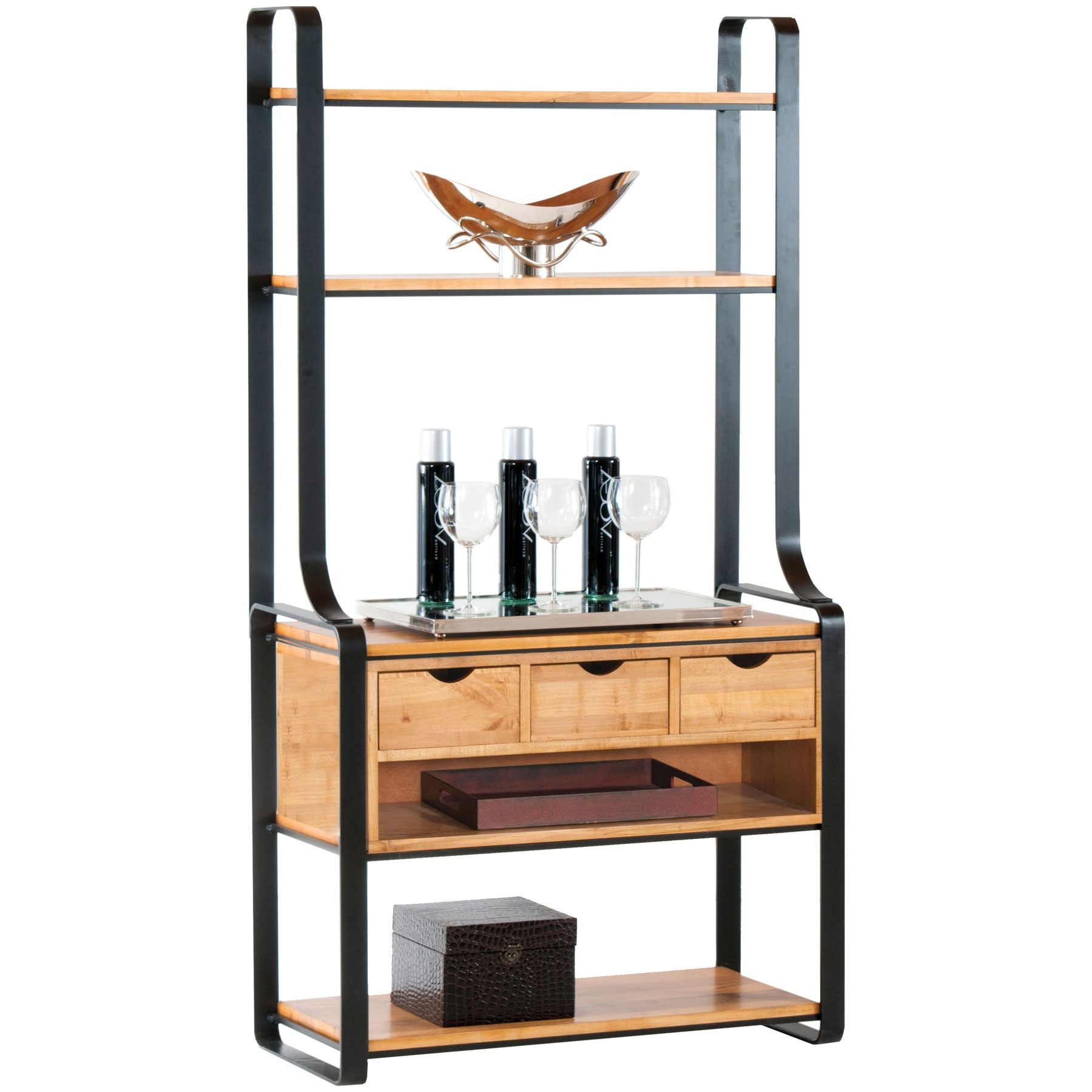pictured here is the kenley 3 drawer bakers rack in charcoal finish with maple shelves and 24. Black Bedroom Furniture Sets. Home Design Ideas