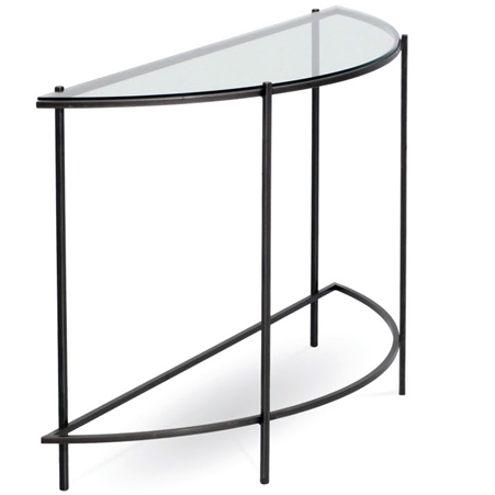 Oculus Half Round Console Table Iron Base Glass Top