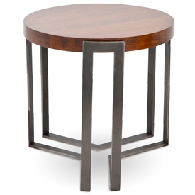 Pictured here is the forged iron Watson Round End Table available in numerous fine iron finishes and table tops to choose from.