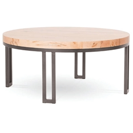 Pictured is the Davidson Round Cocktail Table which measures 42-in diameter and stands 21.25-in tall. Available in several custom iron finish and table top options to fit you style and decor.