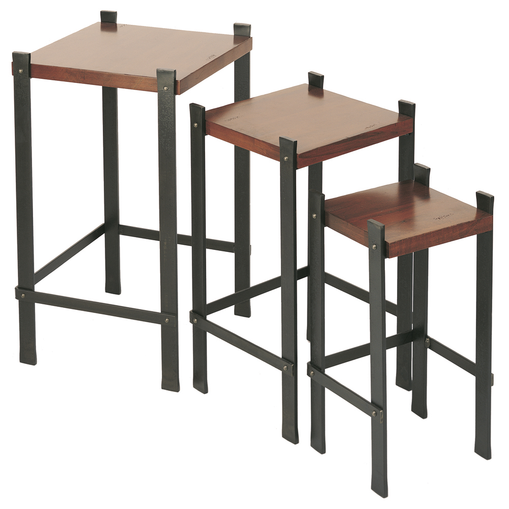 Wrought iron timber nesting tables set of by