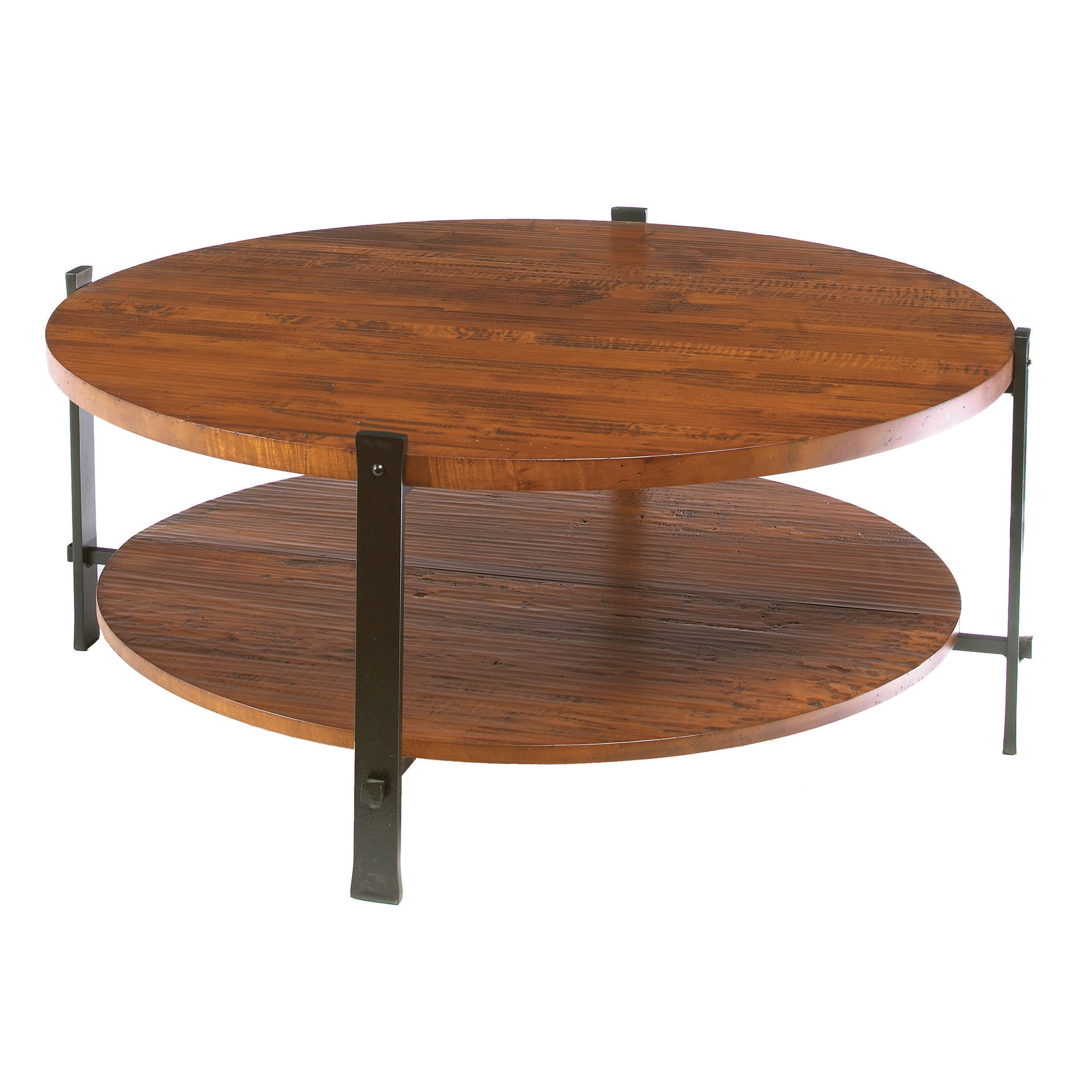 Wrought iron timber round cocktail table by charleston forge Round cocktail table