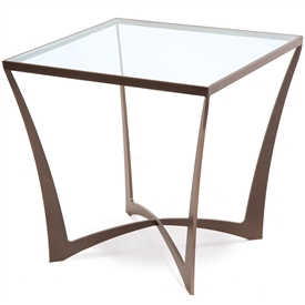 Pictured here is the forged iron Lotus Square End Table available in numerous fine iron finishes and table tops to choose from.
