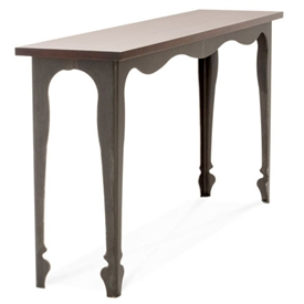 Pictured is the Charleston Forge manufactured Paris Console that measures 57-in x 11-in x 30-in with custom iron finishes and table top options to choose from.