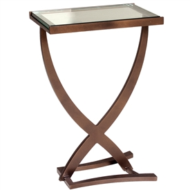 Pictured is the Wrought Iron Sterling Drink Table with glass top, made by Charleston Forge