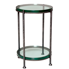 Maritime Drink Table with a glass top and glass shelf made by Charleston Forge sold at Timeless Wrought Iron