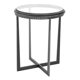 "Pictured is the Bauer Drink Table hand crafted by the artisans of Charleston Forge, with a variety of fine finishes to choose from.  17.5"" dia. x 22.25"" H"
