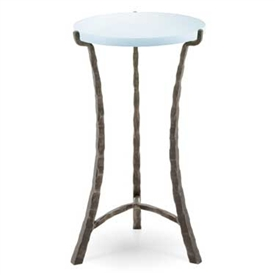 "Pictured is the 12-in Cascade Drink Table hand crafted by the artisans of Charleston Forge, with a variety of fine finishes to choose from.  14"" dia. x 22 H"
