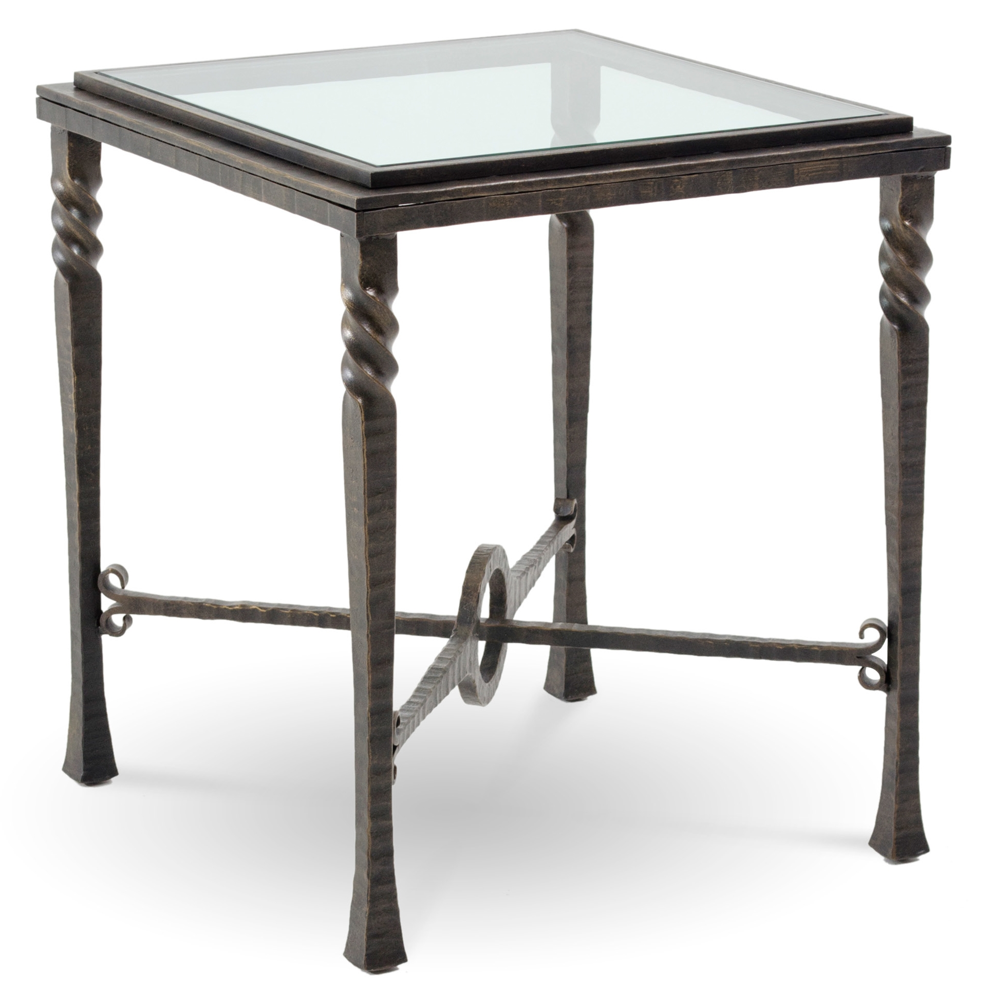 pictured is the omega square end table with glass table