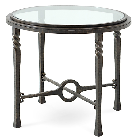 Omega Round End Table With Glass Top By Charleston Forge