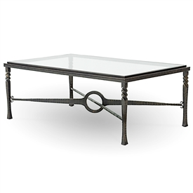 Pictured is the Omega Rectangular Cocktail Table with glass table top - The solid wrought iron table base is available in several custom iron finish options.