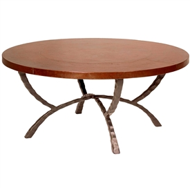 Pictured is the Hudson 48-in Round Cocktail Table which measures 48-in dia. by 20-in high, with custom iron finishes and table top options to choose from.