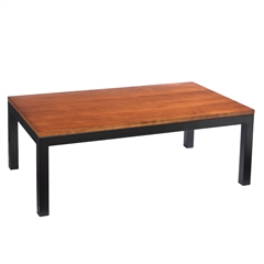 Pictured is the Parsons Rectangular Cocktail Table which measures 48-in by 28-in by 17-in with custom iron finishes and table top options to choose from.
