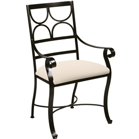 Pictured here is the Camino Dining Chair handcrafted by Charleston Forge. Available in serveral custom finish and seat options.