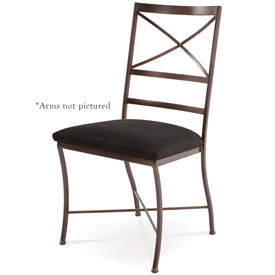 Pictured here is the Barkley Dining Chair handcrafted by Charleston Forge. Available in serveral custom finish and seat options.